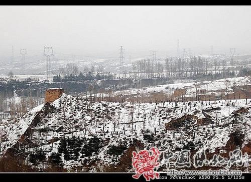 榆林镇北台周边积雪景观